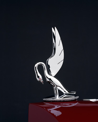 AUT 30 RK0295 11 © Kimball Stock 1933 Packard Convertible CP Burgundy Gray Cormorant Hood Ornament Detail