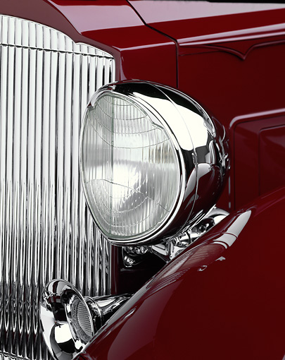 AUT 30 RK0298 05 © Kimball Stock 1933 Packard Convertible Burgundy Headlight Detail