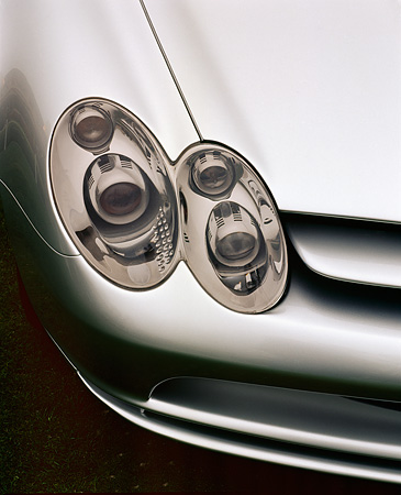 AUT 30 RK0373 01 © Kimball Stock Mercedes-Benz Vision SLR Silver Headlight Detail