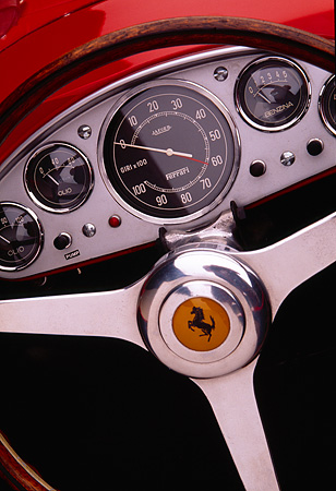 AUT 30 RK0456 02 © Kimball Stock 1956 Ferrari 860 Monza Red Detail Of Steering Wheel And Front Dash