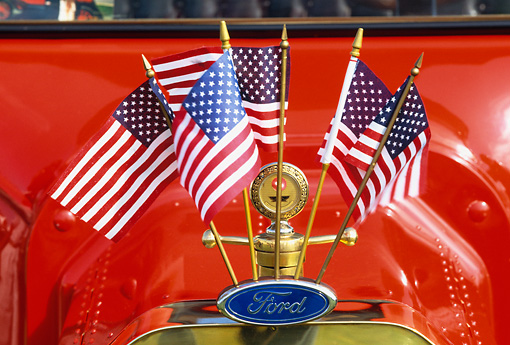 AUT 30 RK0546 17 © Kimball Stock 1915 Ford Model T Close Up Of Emblem With Flags