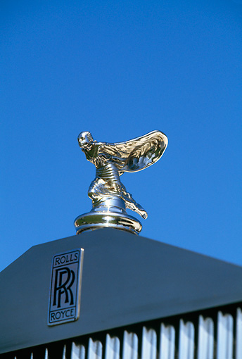 AUT 30 RK0553 16 © Kimball Stock 1949 Rolls Royce Close Up Of Hood Ornament