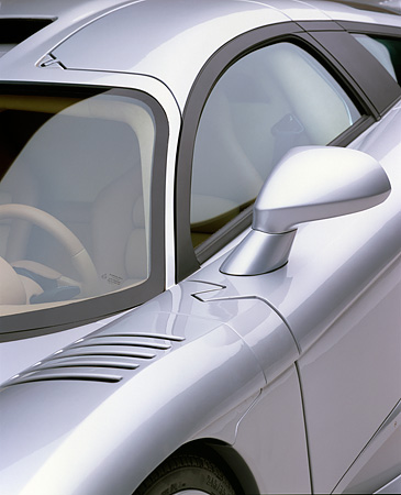 AUT 30 RK0604 01 © Kimball Stock 2001 Saleen S7 Silver Detail 3/4 Front Door Side Mirror Fender