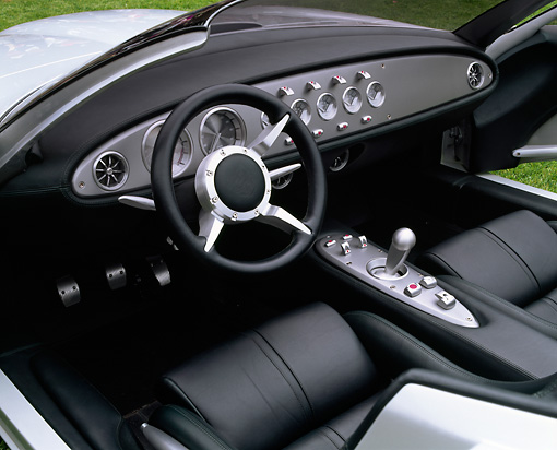 AUT 30 RK0614 07 © Kimball Stock Jaguar F-Type Concept Roadster Silver Interior Detail