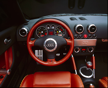 AUT 30 RK0668 07 © Kimball Stock 2001 Audi TT Roadster Turbo Detail Steering Wheel And Dashboard Studio