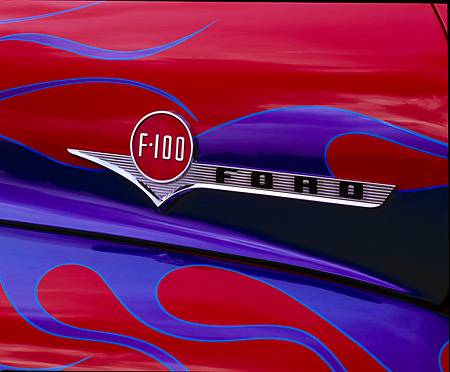 AUT 30 RK0684 01 © Kimball Stock 1956 Ford F-100 Pick Up Truck Detail Of Emblem