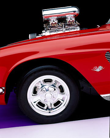 AUT 30 RK0732 02 © Kimball Stock 1962 Chevrolet Corvette Pro Street Roadster Red Detail Side Front Tire And Engine Shot