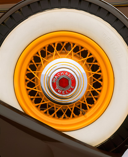 AUT 30 RK0766 02 © Kimball Stock 1933 Packard Phaeton Model 1005 Detail Close Up Of Spare Tire On Fender