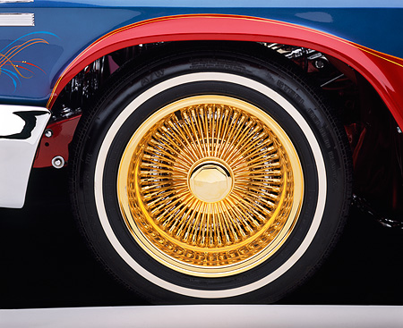 AUT 30 RK0835 04 © Kimball Stock 1963 Chevy Impala Lowrider Detail Tire And Rim Shot