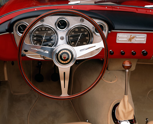 AUT 30 RK0868 03 © Kimball Stock 1957 Maserati A6G/2000 Frua Spider Red Detail