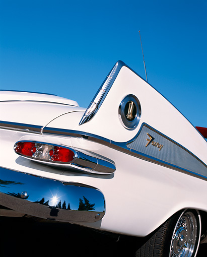 AUT 30 RK0897 06 © Kimball Stock 1959 Plymouth Sport Fury Convertible White Detail