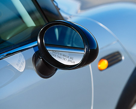 AUT 30 RK0924 01 © Kimball Stock 2002 BMW Mini Cooper Silver Detail Side Mirror