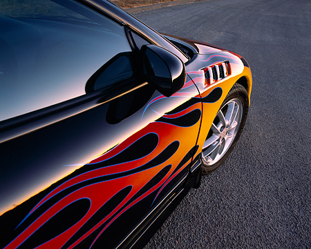 AUT 30 RK0938 02 © Kimball Stock 1999 Mitsubishi Eclipse GSX Custom Detail Paint With Flames
