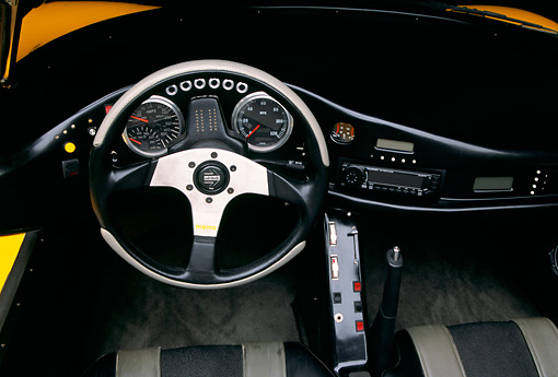 AUT 30 RK0941 07 © Kimball Stock AC Propulsion tZero Electric Sports Car Yellow Detail Interior