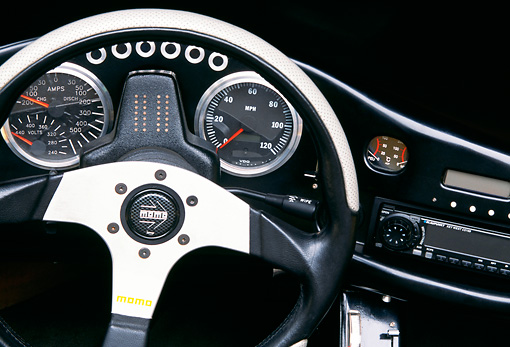 AUT 30 RK0941 08 © Kimball Stock AC Propulsion tZero Electric Sports Car Yellow Detail Interior