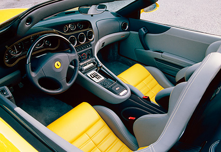 AUT 30 RK0973 02 © Kimball Stock 2001 Ferrari Barchetta Yellow Detail Interior Shot