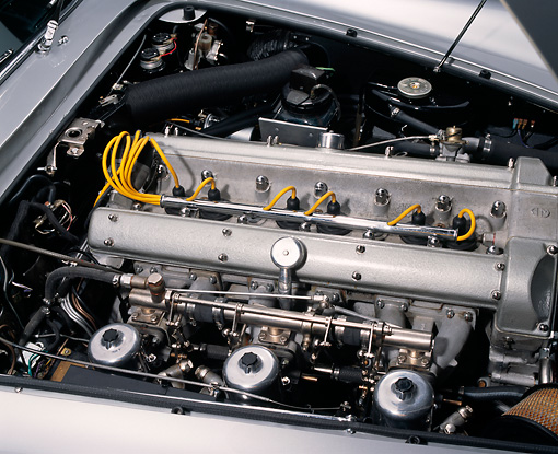 AUT 30 RK1001 07 © Kimball Stock 1964 Aston Martin DB5 Silver Detail Engine Shot