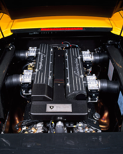 AUT 30 RK1025 02 © Kimball Stock 2002 Lamborghini Murcielago Yellow Detail Engine Shot