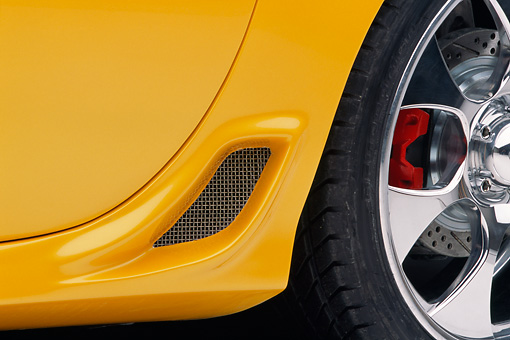 AUT 30 RK1034 01 © Kimball Stock 2002 Chevrolet Corvette Z06 Yellow Detail
