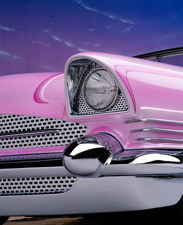 AUT 30 RK1064 11 © Kimball Stock 1956 Packard Convertible Custom Pink Detail Front Grill And Headlights