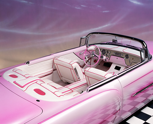 AUT 30 RK1065 07 © Kimball Stock 1956 Packard Convertible Custom Pink Detail