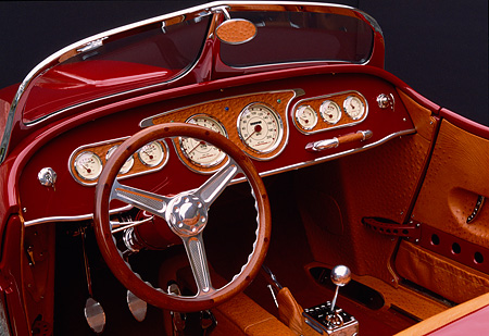 AUT 30 RK1113 02 © Kimball Stock 2002 Torpedo Roadster Custom Detail Dash Interior Shot