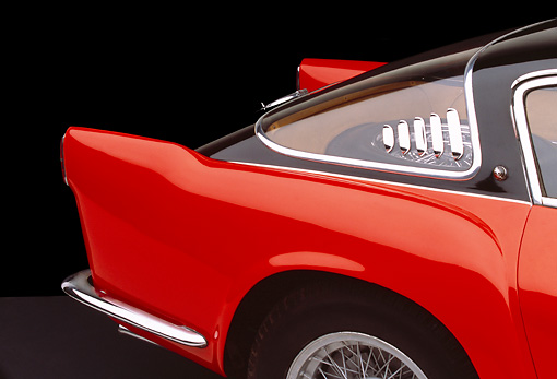 AUT 30 RK1263 04 © Kimball Stock 1955 Ferrari 375mm Sport Competitione Speciale Red And Black Detail Studio