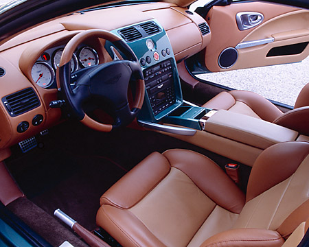 AUT 30 RK1716 04 © Kimball Stock 2002 Aston Martin Vanquish Green Detail Interior Shot