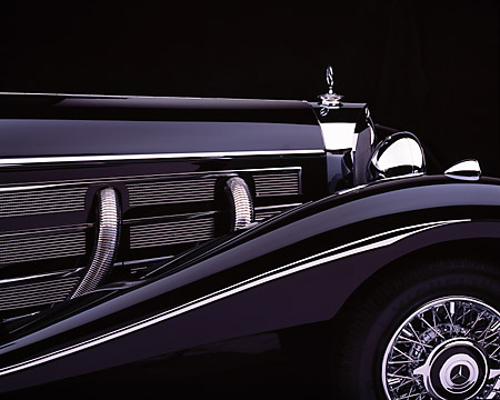 AUT 30 RK1737 01 © Kimball Stock 1937 Mercedes-Benz 540K Special Roadster Black Hood Detail
