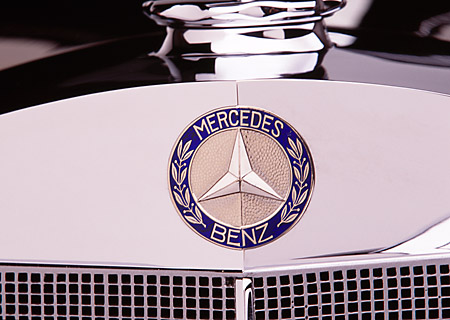 AUT 30 RK1744 01 © Kimball Stock 1937 Mercedes-Benz 540K Special Roadster Black Detail Front Emblem
