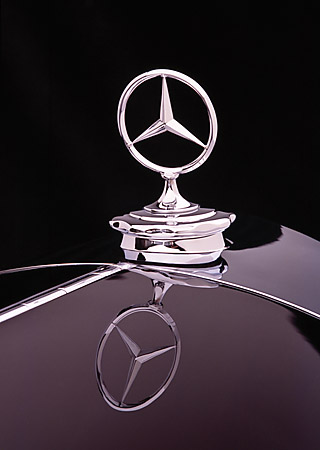 AUT 30 RK1745 06 © Kimball Stock 1937 Mercedes-Benz 540K Special Roadster Black Detail Hood Ornament