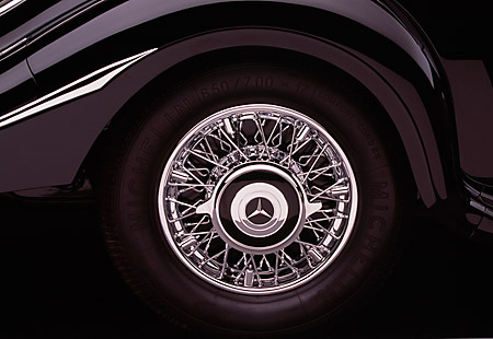AUT 30 RK1751 01 © Kimball Stock 1937 Mercedes-Benz 540K Special Roadster Black Detail Rear Tire
