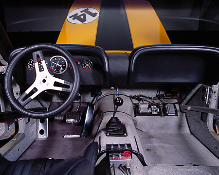 AUT 30 RK1759 09 © Kimball Stock 1970 Ford Mustang Boss 302 Trans Am Race Car Detail Interior
