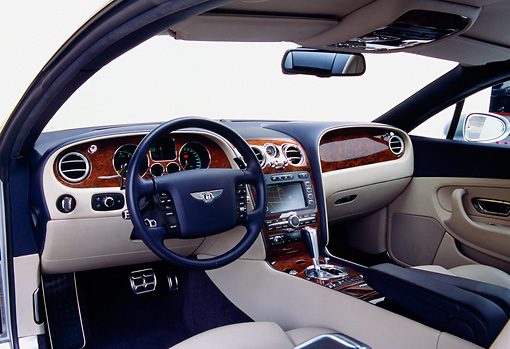 AUT 30 RK1799 12 © Kimball Stock 2004 Bentley Continental GT Silver Interior Detail