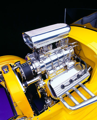 AUT 30 RK1810 06 © Kimball Stock 1927 Ford Roadster Yellow Detail Engine Shot