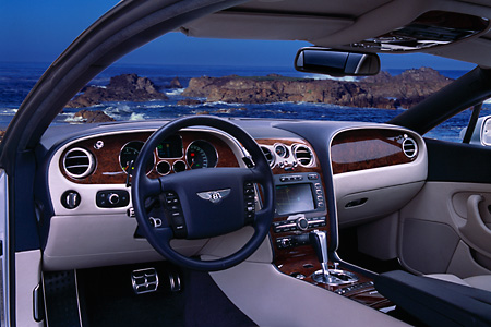 AUT 30 RK1814 01 © Kimball Stock 2004 Bentley Continental GT Silver Detail Interior Front Dash