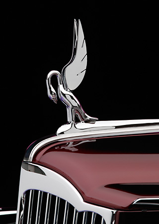 AUT 30 RK1889 01 © Kimball Stock 1941 Packard Kustom Roadster Burgundy Detail Hood Ornament