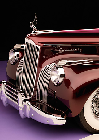 AUT 30 RK1896 01 © Kimball Stock 1941 Packard Kustom Roadster Burgundy Detail Front End Shot