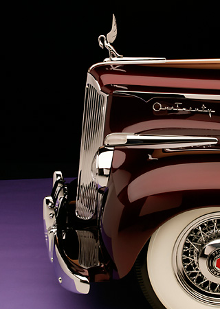 AUT 30 RK1897 01 © Kimball Stock 1941 Packard Kustom Roadster Burgundy Detail Profile View Front Wheel