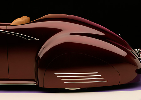 AUT 30 RK1898 01 © Kimball Stock 1941 Packard Kustom Roadster Burgundy Detail Profile Rear Shot