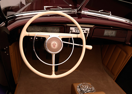 AUT 30 RK1901 01 © Kimball Stock 1941 Packard Kustom Roadster Burgundy Detail Front Interior Shot
