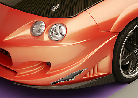 AUT 30 RK1947 01 © Kimball Stock 2001 Acura Integra Orange Custom Detail Front Headlight And Fender