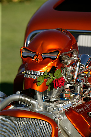 AUT 30 RK2085 01 © Kimball Stock 1933 Ford 3 Window Coupe Candy Orange Detail Skull On Hood