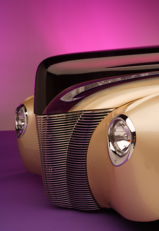 AUT 30 RK2280 01 © Kimball Stock 1940 Ford Deluxe Opera Coupe Detail Front Grill And Headlights Studio