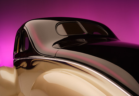 AUT 30 RK2284 01 © Kimball Stock 1940 Ford Deluxe Opera Coupe Champagne & Purple Detail 3/4 Rear Studio