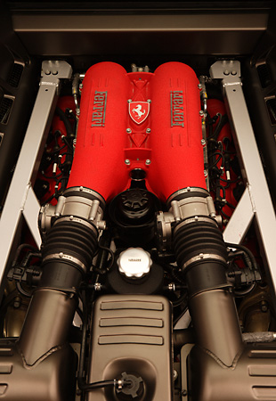 AUT 30 RK2286 01 © Kimball Stock 2005 Ferrari F430 Red Detail Engine Shot