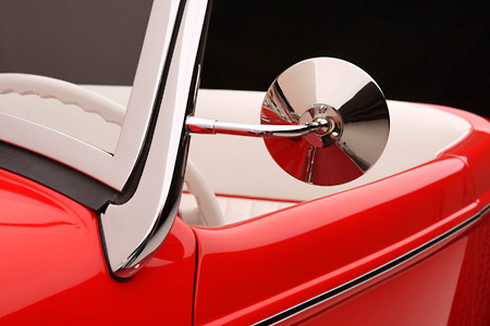 AUT 30 RK2416 01 © Kimball Stock 1932 Ford Roadster Red Detail Side Mirror