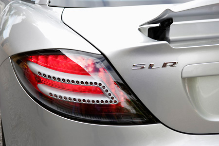 AUT 30 RK2444 01 © Kimball Stock 2005 Mercedes-Benz SLR McLaren Silver Brake Light Detail