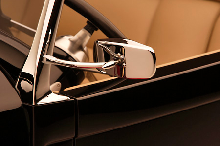 AUT 30 RK2564 01 © Kimball Stock 1929 Ford Track Nose Roadster Black And Cream Detail