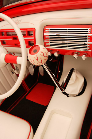 AUT 30 RK2655 01 © Kimball Stock 1932 Ford Channel Roadster Red Detail Interior